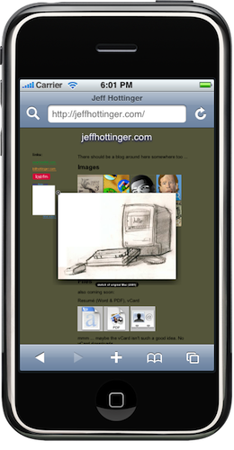 jeffhottinger.com on iPhone Simulator